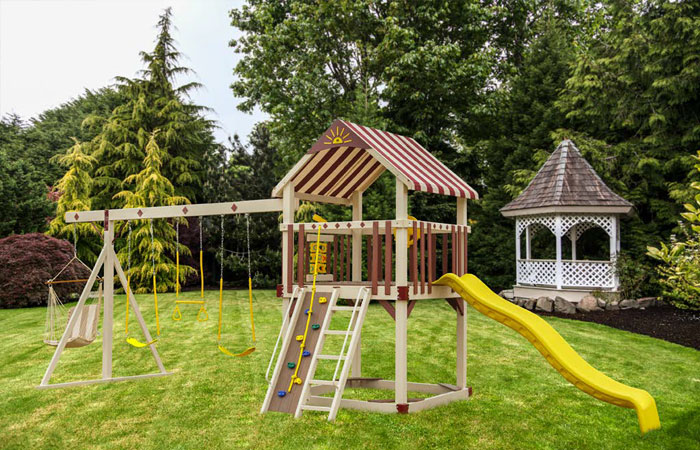 rustic yellow amish built swing set for sale in md