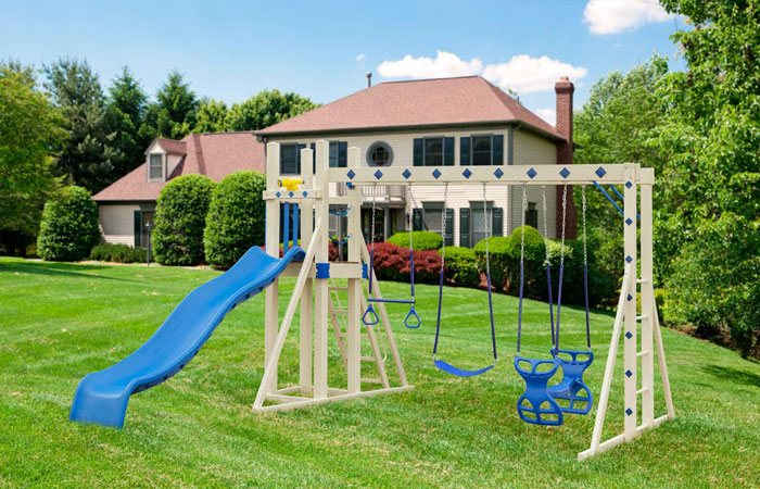 simple backyard swing set with slide for sale in md