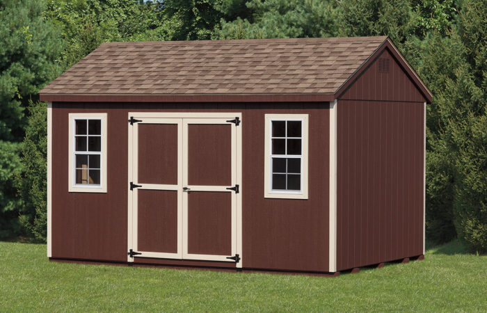 brown siding on an a frame shed with double doors