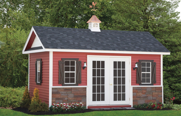 red deluxe a frame storage shed with fancy doors