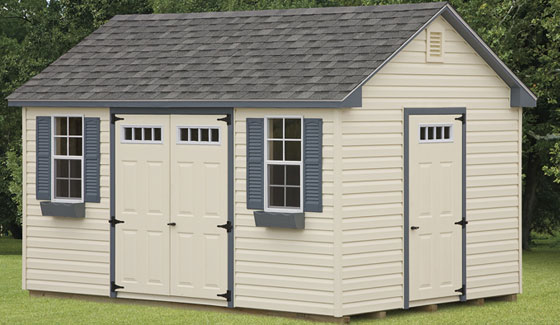 amish built shed with double front door and asphalt shingle roof