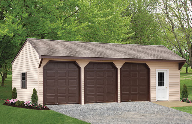 tan amish built three car garage