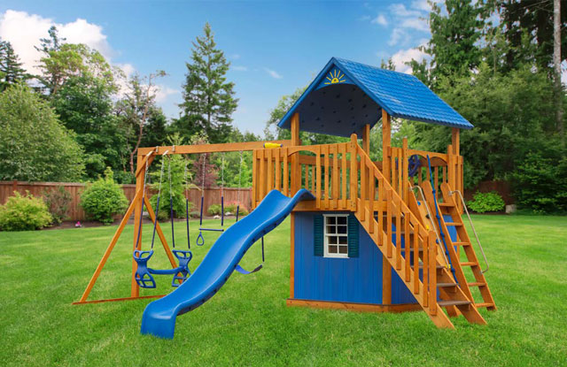 traditional wooden swing set with blue details