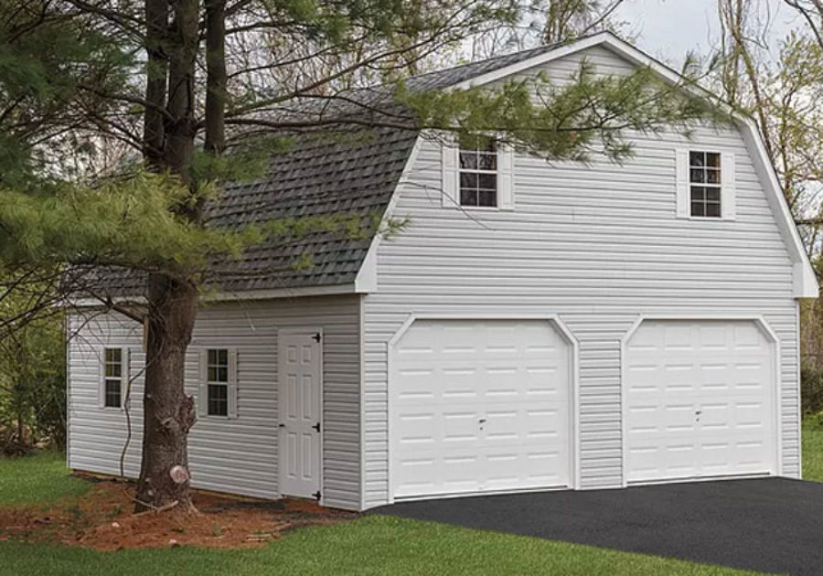 two story gambrel shed with 2 car garage