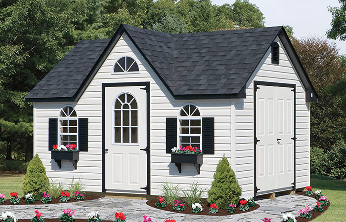 vinyl dormer shed with gable room and 4 windows