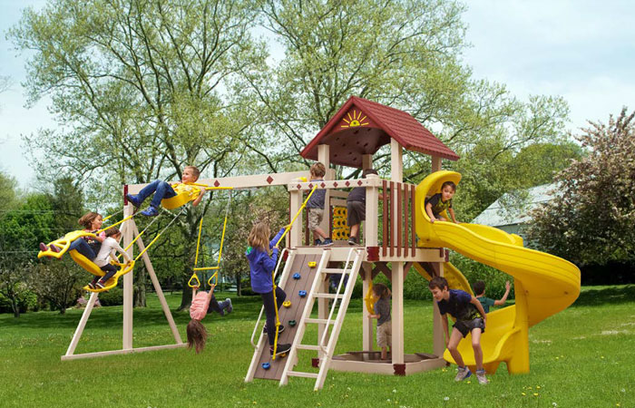 vinyl swing set with yellow swirly slide for sale in md