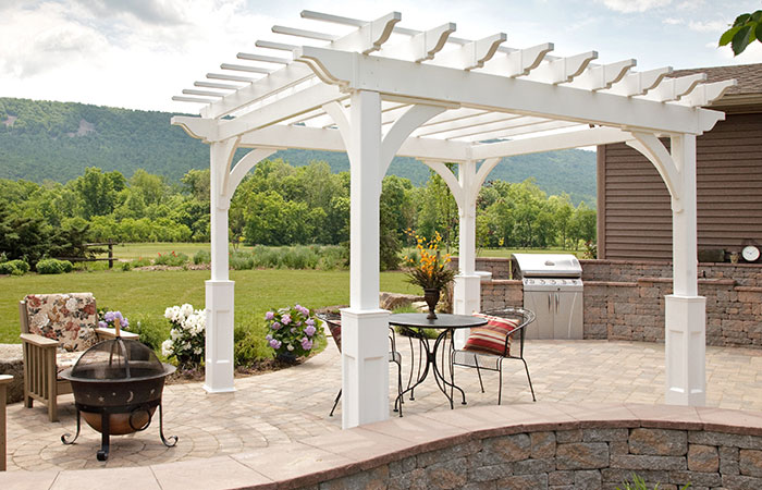 white vinyl poolside pergola for sale by amish builders