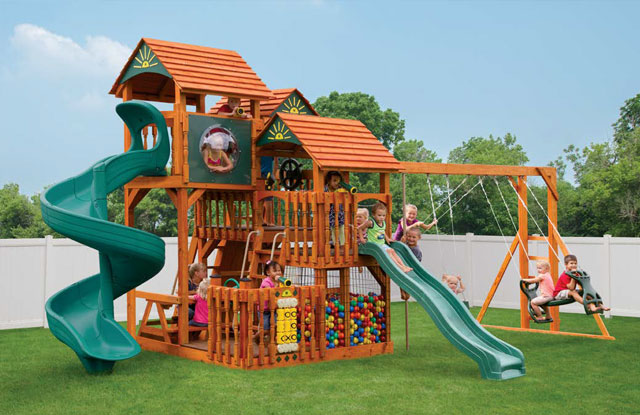 wood swing set with two slide and ball pit