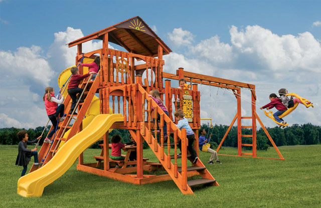 wooden swing set with staircase
