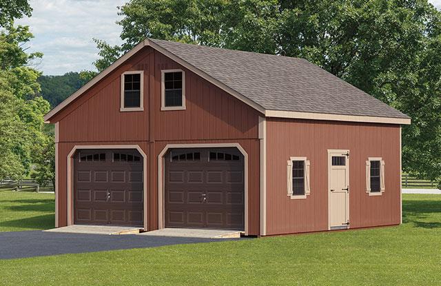 amish buuilt garage with dark brown garage doors
