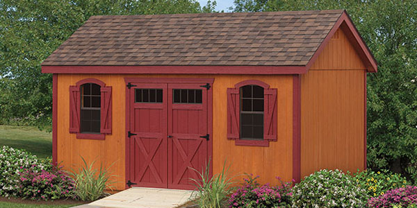 outdoor storage shed with double red doors in eastern shore maryland
