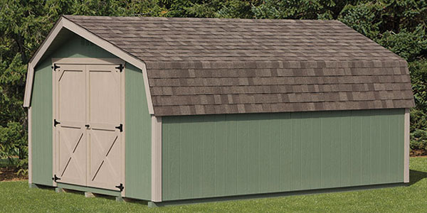 green storage shed in eastern shore maryland