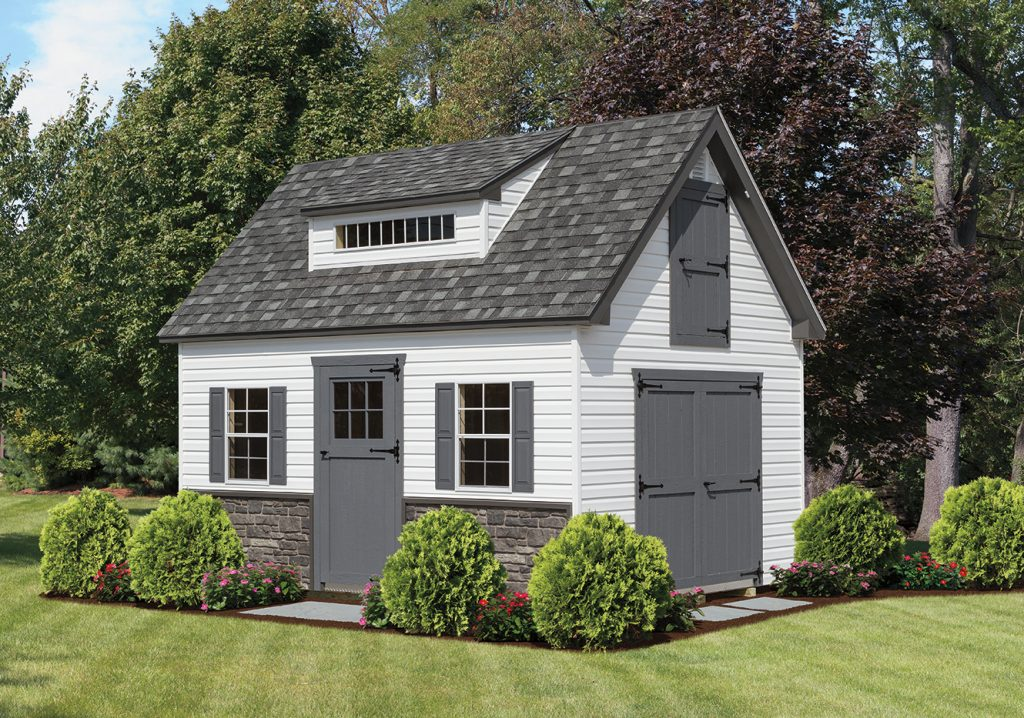 white and grey a frame shed with dormer style roof in maryland