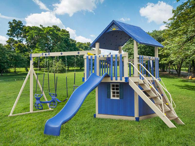 blue vinyl swing set with slide